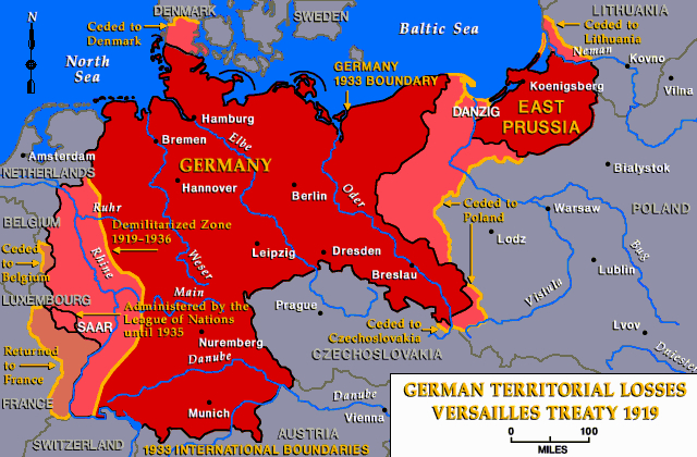 Wwi germany after versailles treaty 1919 map1 though germany wwi germany after versailles treaty 1919 map1 though germany did not start wwi as it was triggered by serbs killing austrian ferdinand allie gumiabroncs Choice Image